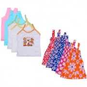 IndiWeaves Baby Girls Cotton Printed Frock and Printed Slips (Pack of 10)