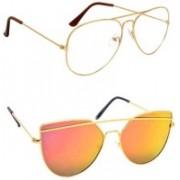 Sulit Aviator, Wayfarer, Cat-eye Sunglasses(Clear, Golden)