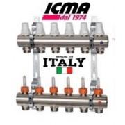 "Distribuitor/colector cu debitmetre si robineti termostatici ICMA K013 1"" x 3/4"" - 4 cai"