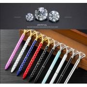 Colorful diamond pen big Crystal Pen Diamond Ballpoint Pen Stationery Ballpen Oily Rotate twisty Black / blue Refill Office gift