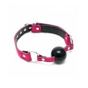 Kugla za usta sa pink kožnim povezom RIM0007961