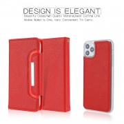 Litchi Texture Detachable Leather Wallet Cover Phone Case for iPhone 11 Pro Max 6.5 inch - Red