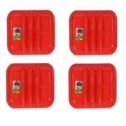 Merkloos 4x Rode barbecue borden 5-vaks 26 cm