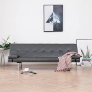 vidaXL Разтегателен диван с две възглавници, сив, изкуствена кожа