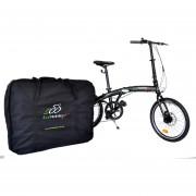 Bicicleta Plegable Ecomobilefit, Aluminio, Frenos Disco, 7v. R20 Negra
