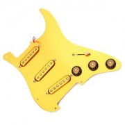 ELECTROPRIME Gold Prewired Loaded 3 Single Coil Pickups Pickguard SSS for Fender Guitar