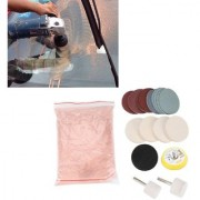 DIY Crafts Glass Polishing Kit Cerium Oxide Polishing Powder Felt Polishing Wheel Set for Windscreen and Glass Backing Pad with M10 Drill Adapter Polish Metal Car Body (90 Gram Pack Kit Light Pink)