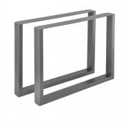 [en.casa]® 2 x Conjunto de Patas de mesa - Set de 2x patas de mesa - Metal - Patas de los muebles - 90 x 72 cm - Para mesa de comedor - Armazón de mesa - Con protección para suelo - Gris metálico