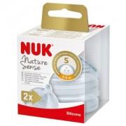 NUK Nature Sense Trinksauger, Silikon-Trinksauger mit extraweicher Softspitze, 1 Packung = 2 Stück, für Kinder von 0-6 Monaten (S)