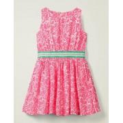 Johnnie b Weiß/Hellrosa, Blütenmuster Webkleid mit Taillenband Damen Boden, 140 (9-10J), Pink