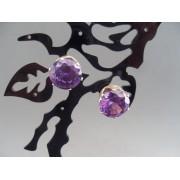 Cercei bijuterie argintii cu cristal violet
