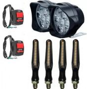 Eshopglee Car /Bike /Motorcycle /Scooty Universal 12 LED Fog Light 1+2 Switch+ 4 Slim Indicator Light (Blk)