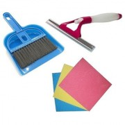De-Ultimate Set Of Mini Dustpan and Broom Set Sponge Wipes Floor Surface Cleaning And Sprayer Glass Wiper Cleaner