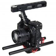 Puluz Manejar Video Camara Jaula Steadicam Estabilizador Para Sony A7 Y 7 Y A7r Y A7r Ii Y 7 Ii, Panasonic Lumix Dmc - Dmc-gh4 (rojo)