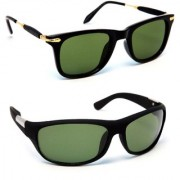 TheWhoop Combo Black Golden Latest Wayfarer And Black Green Sports Sunglasses