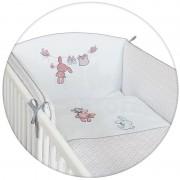 Lenjerie de pat cu 3 piese Ceba Baby Iepuras alb