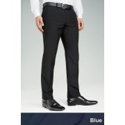 Mens Next Plain Front Regular Fit Trousers - Dark Blue