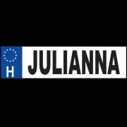 Julianna - Név rendszámtábla