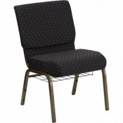 Flash Furniture Fabric Church Chair with Cup/Book Rack - Black Dot w/Gold Vein Frame, 21 1/4Inch W x 25Inch D x 33 1/4Inch H, Model FCH2214GV806B