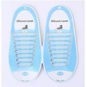 16 STKS/set Running no stropdas schoenveters Fashion Unisex atletische elastische siliconen schoenveters (zilver)