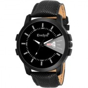 Evelyn Black Dial Analog Sports Watch for Men/Boys Black Leather Strap Casual Stylish Watch Eve-760