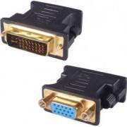 Adaptor DVI-I 24+5 PIN Tata - VGA HD15 Mama Model Negru - pentru Monitor Proiector Sisteme Video DVI-I