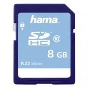8GB SDHC, Hama, Class 10, скорост на четене 22MB/s, скорост на запис 10MB/s