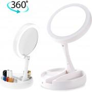 Make up spiegel 10 x vergroot met LED verlichting - Cosmetica - Rond - Inklapbaar - Reisspiegels - 360ºDraaibaar - Scheerspiegel - Dubbelzijdig - Visagie - Nachtlamp/Bureaulamp - Ruimte voor je make-up