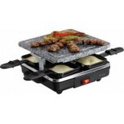 Gratar electric DomoClip Raclette 600W 4 persoane Placa de piatra pentru gratar Negru