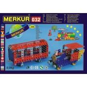 Stavebnice MERKUR 032 Železniční modely 10 modelů 300ks v krabici 36x27x3cm