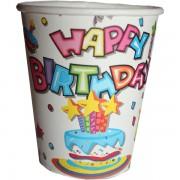 Papír pohár 10 db/cs - happy birthday, tortás