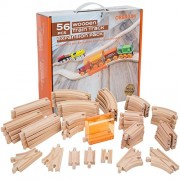 Orbrium Toys 56 Piece Wooden Train Track Expansion Pack with Tunnel Fits Thomas Brio Chuggington Melissa & Doug Imaginarium Set