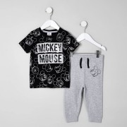River Island Mens Baby Boys Black Mickey Mouse pyjama outfit (12-18 Mths)