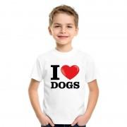 Bellatio Decorations Wit I love dogs/ honden t-shirt kinderen