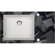 Capella Beton üveg-gránit mosogató - fózolt 86x50x20 cm metálszürke