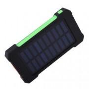 Set Acumulator Extern 10000 mAh cu Incarcare Solara 2 USB Lanterna LED cu Mod SOS Negru-Verde si Adaptor Priza Centenar
