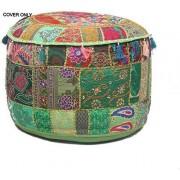 GANESHAM Indio decoración del hogar Hippie clásico algodón Almohada de Piso & Cojín Patchwork Bean Bag Boho Bohemio Bordado a Mano étnico Hecho a Mano Pouf otomano 13 x 18 Pulgadas
