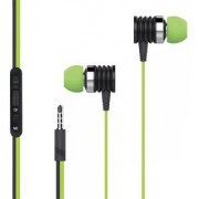 BELL Master Series Subwoofer In-Ear Headset with Mic Tangle Free Cable Piston headphones - Green