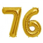 Stylewell Solid Golden Color 2 Digit Number (76) 3d Foil Balloon for Birthday Celebration Anniversary Parties