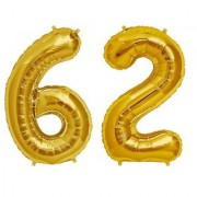 De-Ultimate Solid Golden Color 2 Digit Number (62) 3d Foil Balloon for Birthday Celebration Anniversary Parties