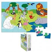 Floor Puzzles 48 Piece Giant Floor Puzzle, Zoo Animals Jumbo Preschool Jigsaw Puzzles, Floor Puzzles for Kids Ages 3-5, 1.9 x 2.9 Feet
