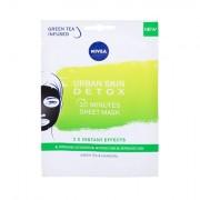 Nivea Urban Skin Detox 10 Minutes Sheet Mask maschera detox al carbone con t? verde 1 pz donna