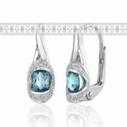 Luxusní diamantové náušnice s diamanty a světle modrým pravým topazem 585/2,5gr