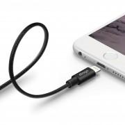 Elago Aluminum Lightning USB Cable - USB кабел за iPhone, iPad, iPod с Lightning (черен)
