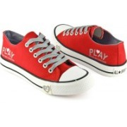 DeVEE Don't Play with Heart Printed Red Canvas Shoes For Women(Red, Grey)