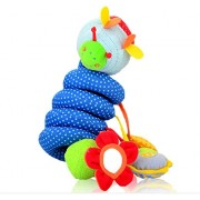 Yunzee Bed Bell Plush Hanging Baby Activity Spiral Plush Stroller Bar Toy Accessories Wrap Around Rattle Toy