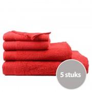 The One Towelling The One Badhanddoek Voordeelpakket 450 gram 70x140 cm Rood (5 stuks)