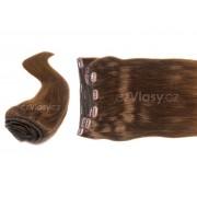 Clip in vlasy odstín 6 Sada: Základní - délka 50 cm, hmotnost 100 g