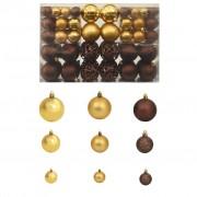 vidaXL Комплект коледни топки от 100 части, 6 см, кафяво/бронз/злато