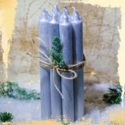 Set 10 Lumanari Argintii drepte 2 2 22 cm